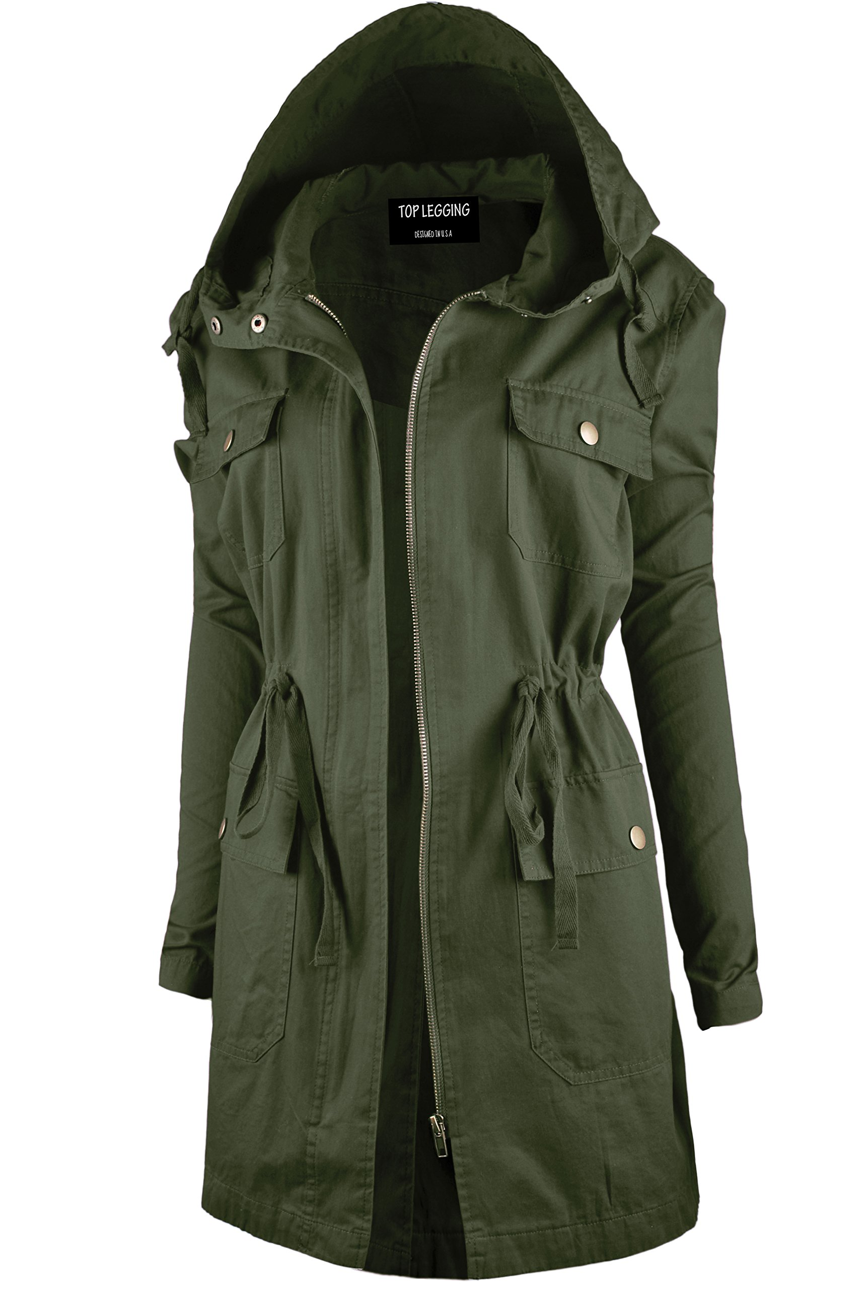 TL Women's Versatile Militray Anorak Parka Hoodie jackets with Drawstring J44 OLIVE 1XL