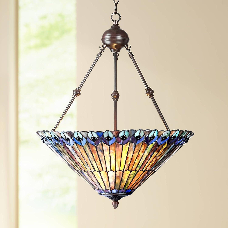 Peacock Glass 3-Light 20 Wide Tiffany Style Pendant Light – Robert Louis Tiffany