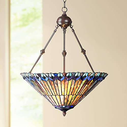 Peacock Glass Bronze Tiffany Pendant Chandelier 20 Wide Modern Stained Glass 3-Light Fixture for Dining Room House Foyer Kitchen Island Entryway Bedroom Living Room – Robert Louis Tiffany