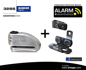 S.A.A Closure Stainless Steel Artago 32S2 Anti-Theft Disc Lock with Alarm 120db High Range and Support for Yamaha MT-07 Approved SRA Bunker Selection