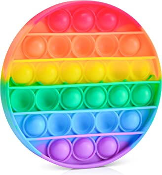 Panciti Push Pop Bubble Sensory Toy - Anxiety Relief for Kids, Adults, Autism, ADHD, ADD, Special Needs using Stress Relief Silicone Pop It Fidgets - Bubble Popper Game - Fidgets Pop It Rainbow Circle