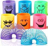 THE TWIDDLERS 96 PCS Bulk Mini Smiley Spring Toys | Mini Silly Face Slinky for Kids Birthday | Party Favor | Goody Bag Filler