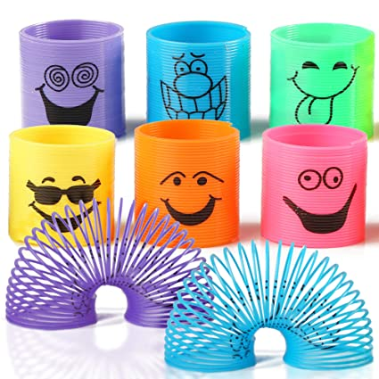 THE TWIDDLERS 96 Mini Smiley Rainbow Springs En Colores Surtidos - Slinkys Ideales para Sorteos De