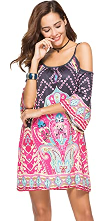 5cea8a31ac78 Arctic Cubic 3/4 Sleeve Cold Open Shoulder Baroque Ethnic Tribal African  Aztec Mini Swing
