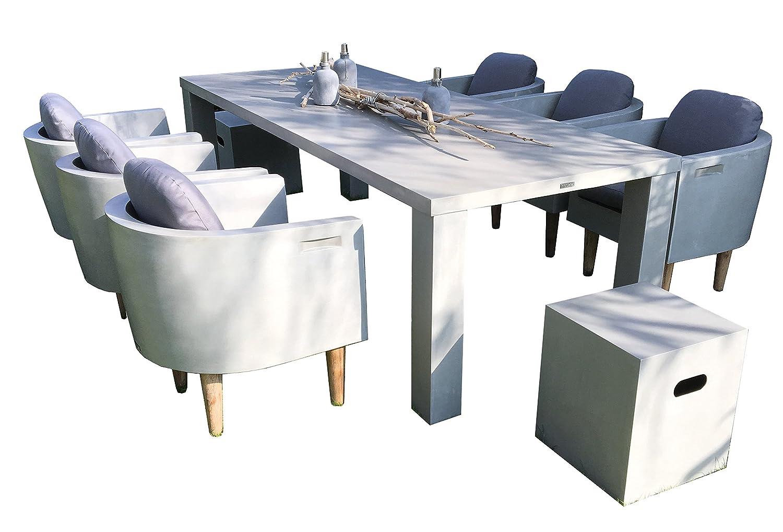 matodi square gartenm bel set 9 teilig fiberstone in betonoptik bestellen. Black Bedroom Furniture Sets. Home Design Ideas