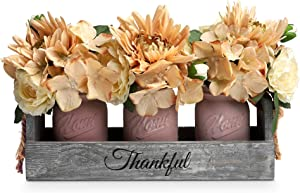 HOMKO Mason Jar Centerpiece Set with Artificial Flower, Kitchen Table Decor Centerpiece in Farmhouse Rustic Style for Flatware Organizer, Flower Arrangement, Garden Wedding (Pink, Large)