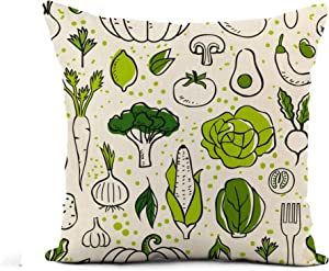 Awowee Flax Throw Pillow Cover Green Pattern Farm Fresh Vegetables Sketch Veggie Food Healthy 16x16 Inches Pillowcase Home Decor Square Cotton Linen Pillow Case Cushion Cover