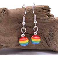 RAINBOW EARRINGS - 8mm Striped Acrylic Beads on Silver Tone Nickelfree Hooks - LGBT Pride