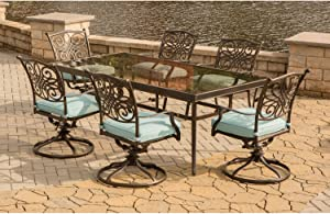 Hanover TRADDN7PCSWG-B Traditions 7 Piece Dining Set in Blue with Extra Large Glass-Top Dining Table