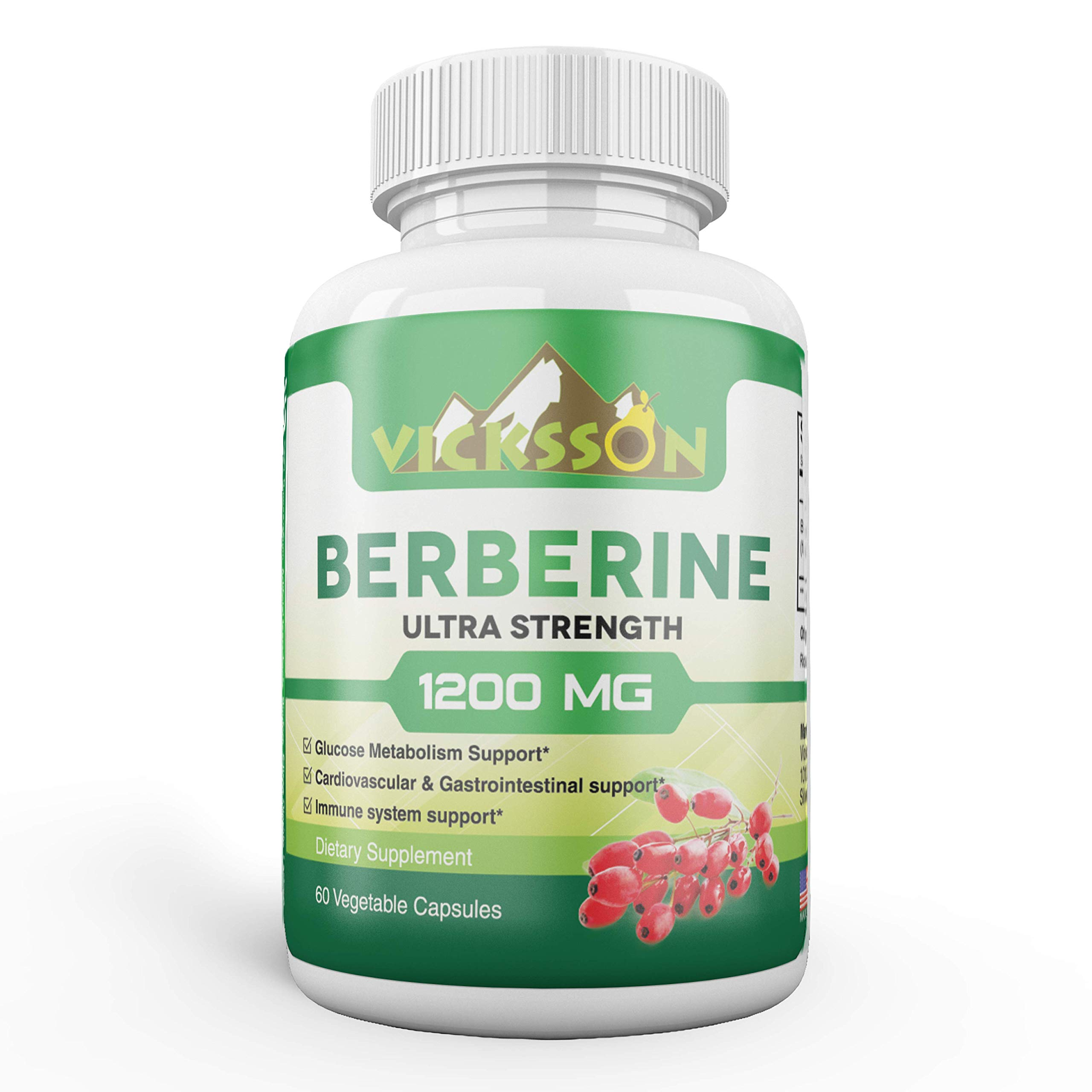 Vicksson Berberine HCL Supplement 1200mg, Supports Immune System, Glucose Metabolism, Blood Sugar, Insulin for Diabetes, Cardiovascular & Gastrointestinal Function, Weight Management | 60 Capsules