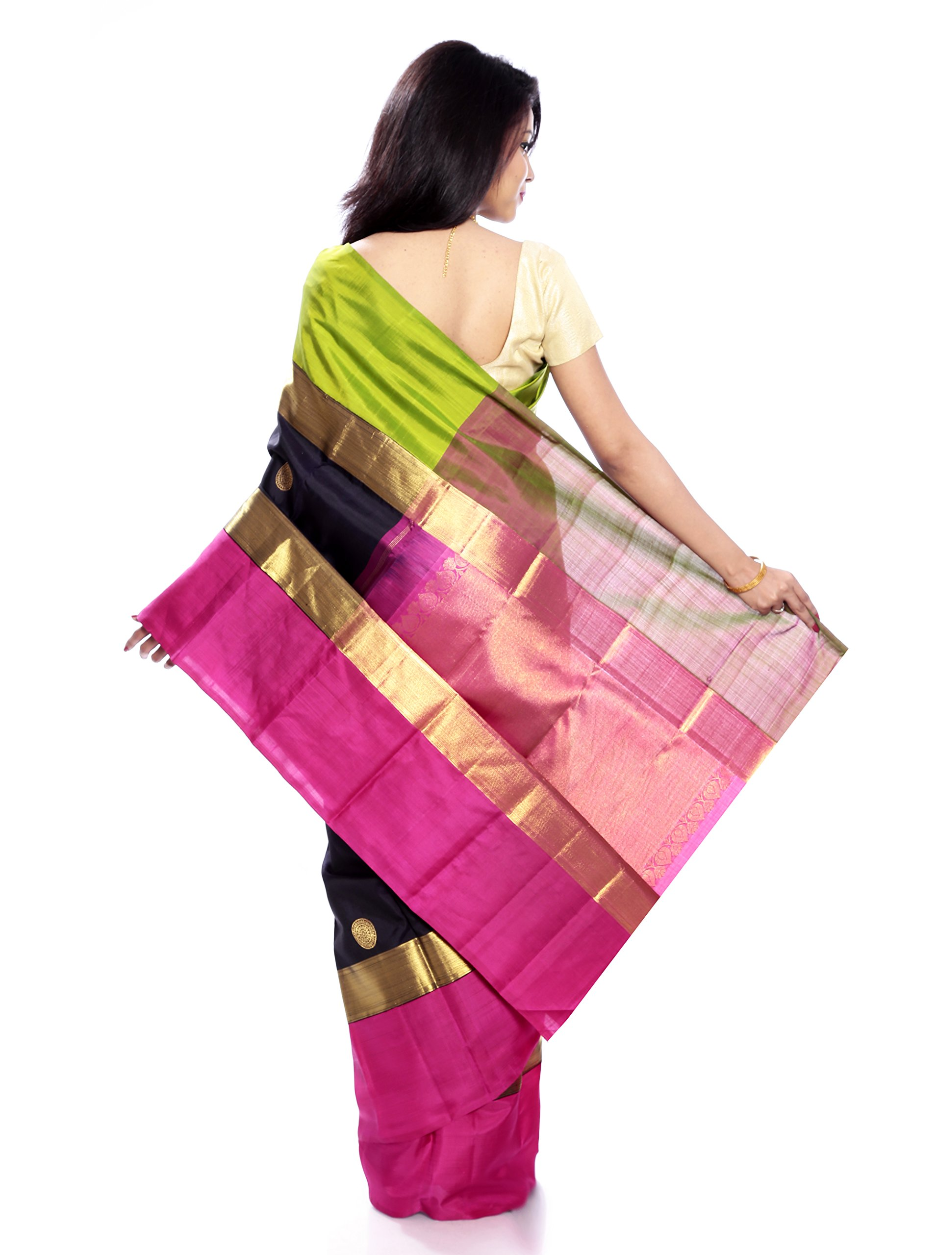 Mandakini — Indian Women's Kanchipuram - Handloom - Pure Zari & Pure Silk Saree (Black ) (MK214) by Mandakini (Image #5)