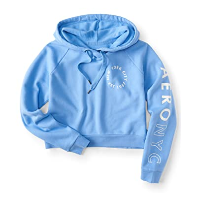 ba84d32b1a8 Aeropostale New York City Circle Logo Crop Pullover Hoodie ...