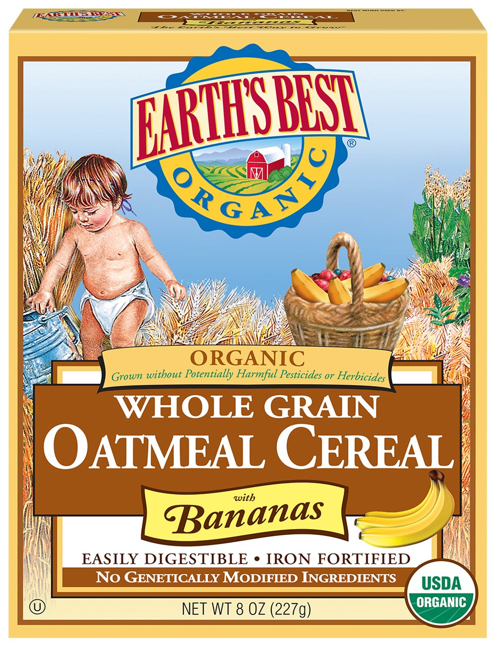 Earth's Best Organic Infant Cereal, Whole Grain Oatmeal with Bananas, 8 oz. Box