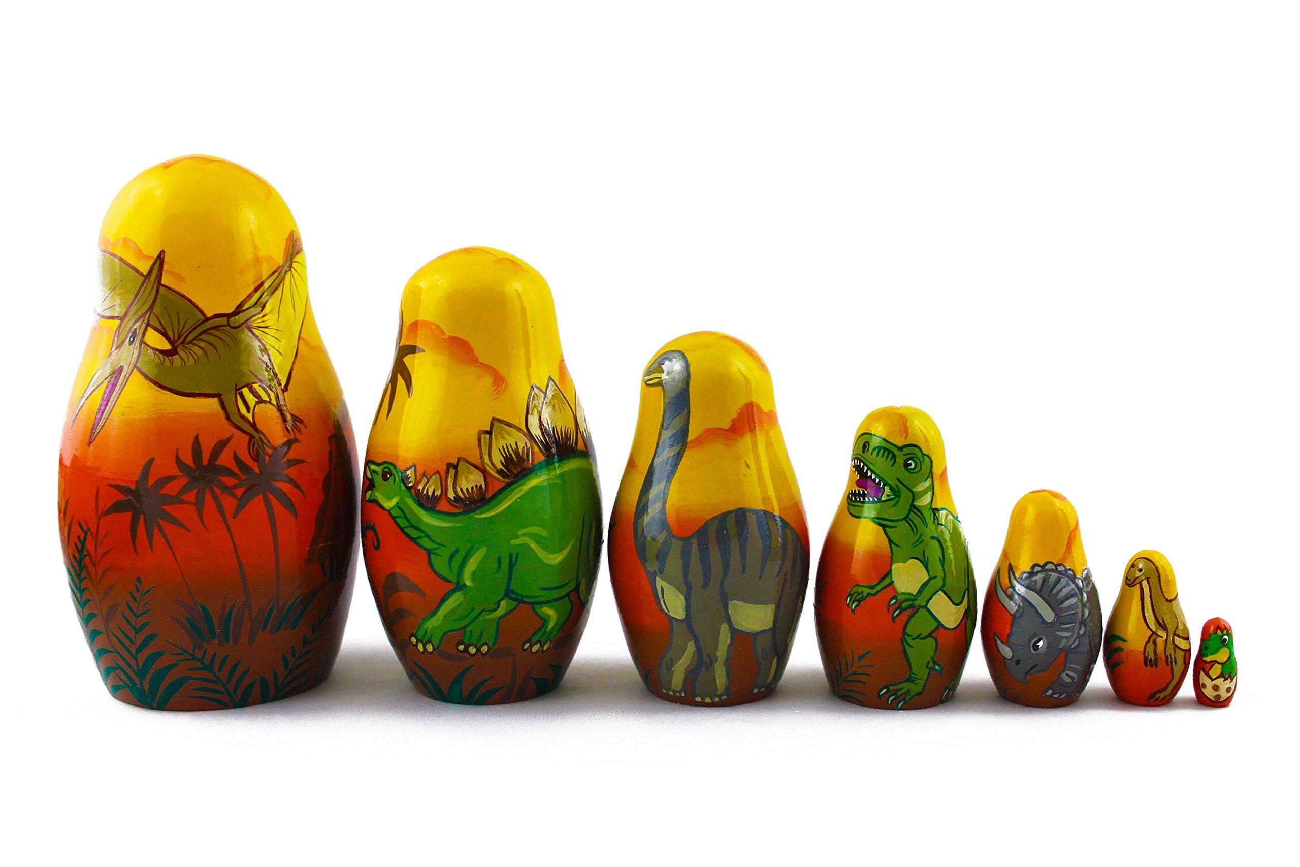 Matryoshka Babushka Russian Nesting Wooden Stacking Doll Dinosaurs 7 Pcs by MATRYOSHKA&HANDICRAFT