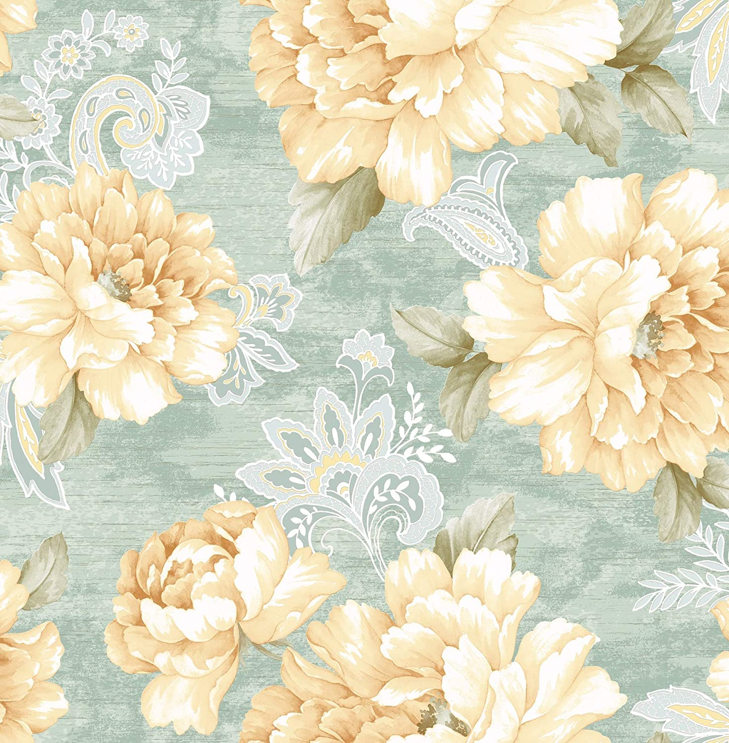 Canary Watercolor Floral Wallpaper Orange Blush Amazon Com
