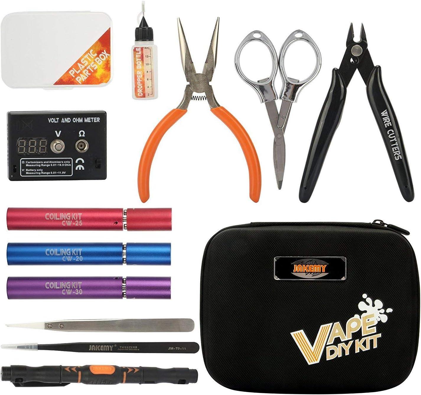 Pinzas Antiest/áticas Rymall cigarrillo electr/ónico DIY Kit de herramientas Kit de herramientas 4 en 1 Kits Bobina Cortadores de Cable Pinzas de Cer/ámicas Bobina Jig cigarrillo para RDA RBA RTA