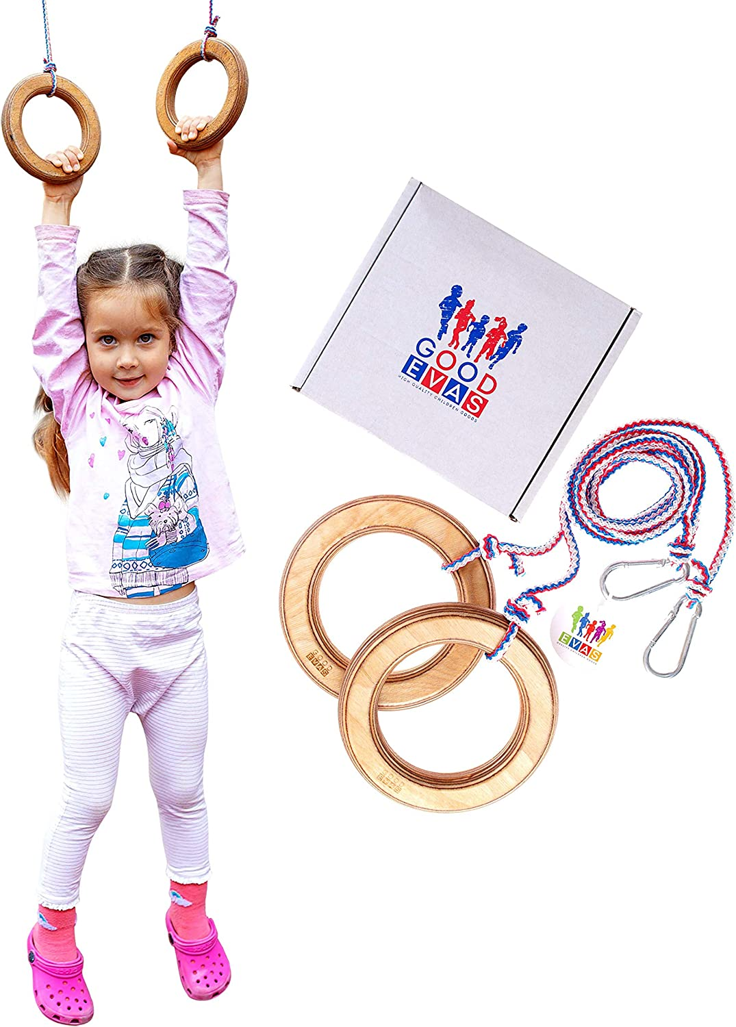 Kids Gym Wooden Rings for Playground and Jungle Gym - Gymnastic Toys for Boys and Girls