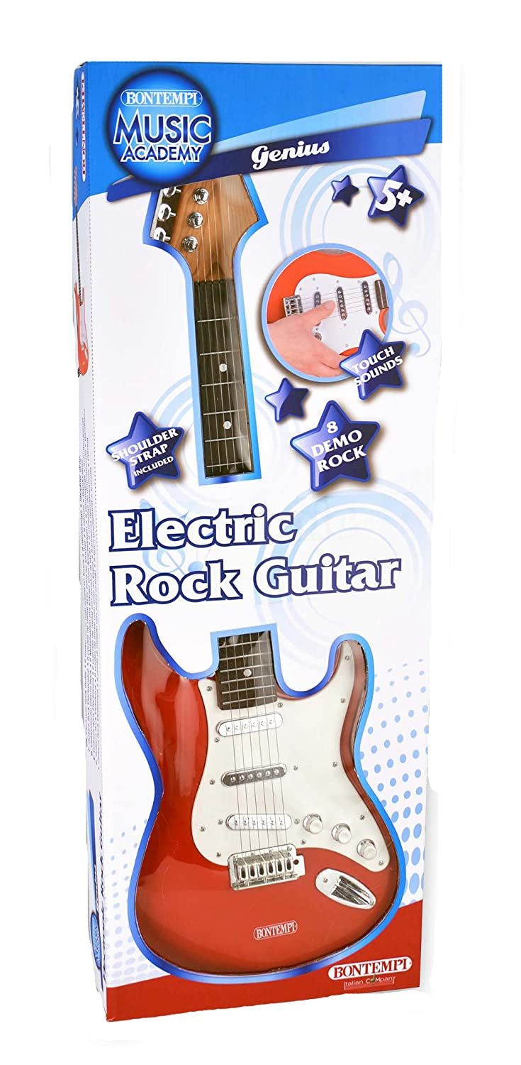 Amazon.com: Bontempi 6 String Electric Guitar with pre-loaded songs & shoulder strap - Red: Toys & Games