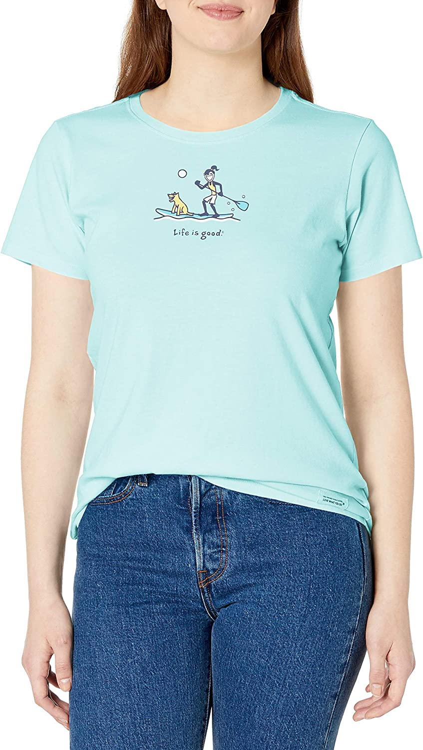 Life is Good Women's Vintage Crusher Jackie & Rocket Dog Graphic T-Shirt