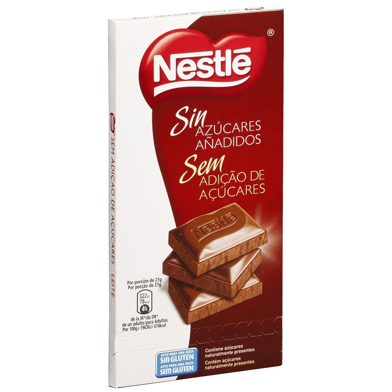 Nestle sin azúcares añadidos Chocolate con Leche - Tableta de chocolate 18x125g: Amazon.es: Alimentación y bebidas
