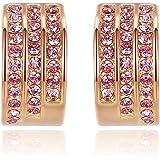 GoSparking de cristal de color rosa de 18K oro rosa plateado aleación Pendiente con cristal austriaco para las mujeres