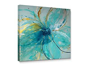 "Niwo Art (TM - Blue Flower A, Floral Painting Artwork - Giclee Wall Art for Home Decor,Office or Lobby, Gallery Wrapped, Stretched, Framed Ready to Hang (16""x16""x3/4"")"