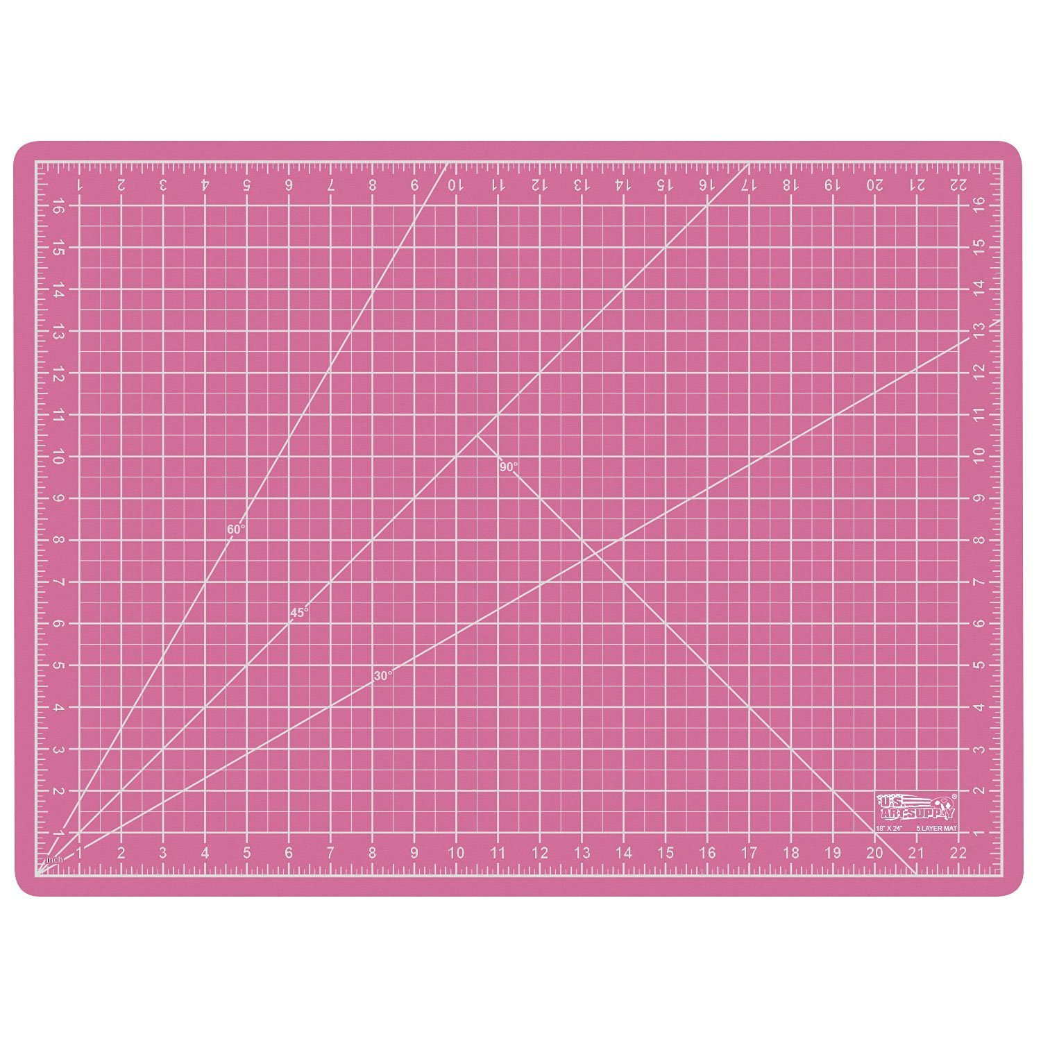 US Art Supply 18'' x 24'' PINK/BLUE Professional Self Healing 5-Ply Double Sided Durable Non-Slip PVC Cutting Mat Great for Scrapbooking, Quilting, Sewing and all Arts & Crafts Projects