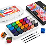 Magicfly Gouache Paint Set, 24 Colors x 30ml(1 oz) Unique Jelly Cup Design with 3 Paint Brushes and a Handhold Portable Carry