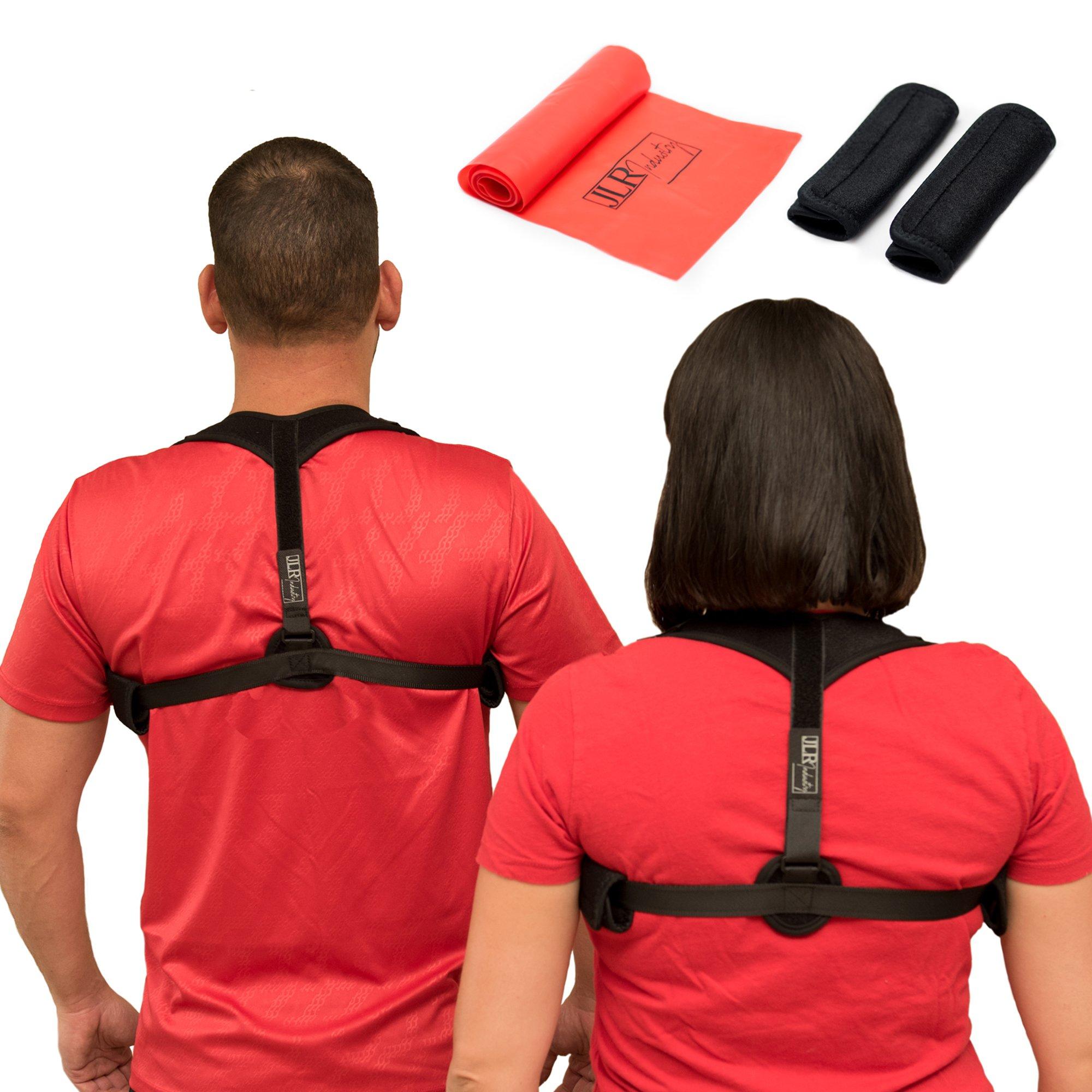 JLR Industry Posture Corrector For Women, Men & Kids – Back Pain Posture Support - Easy Adjustable, Breathable & Comfortable Back Brace Supporter & Underarm Pads & Resistance Band – Improve Back Pain