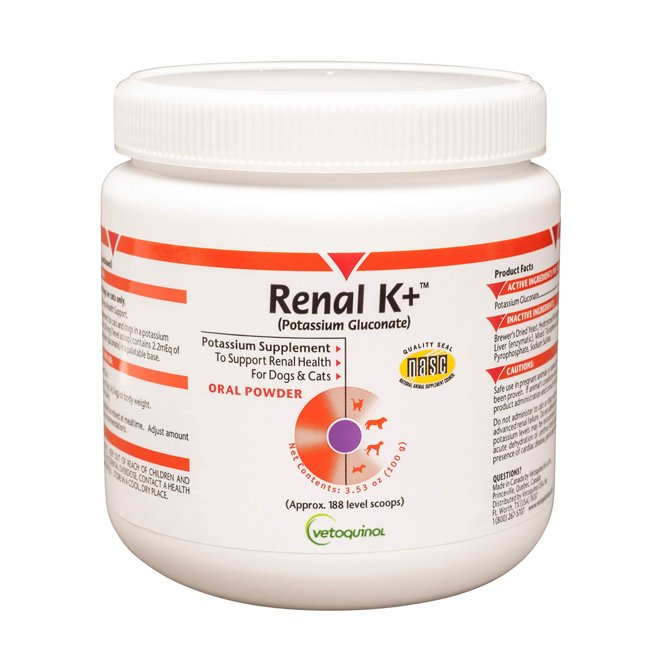 Vetoquinol Renal K+ (Potassium Gluconate) Potassium Supplement Powder for Dogs and Cats, 3.5oz by Vetoquinol