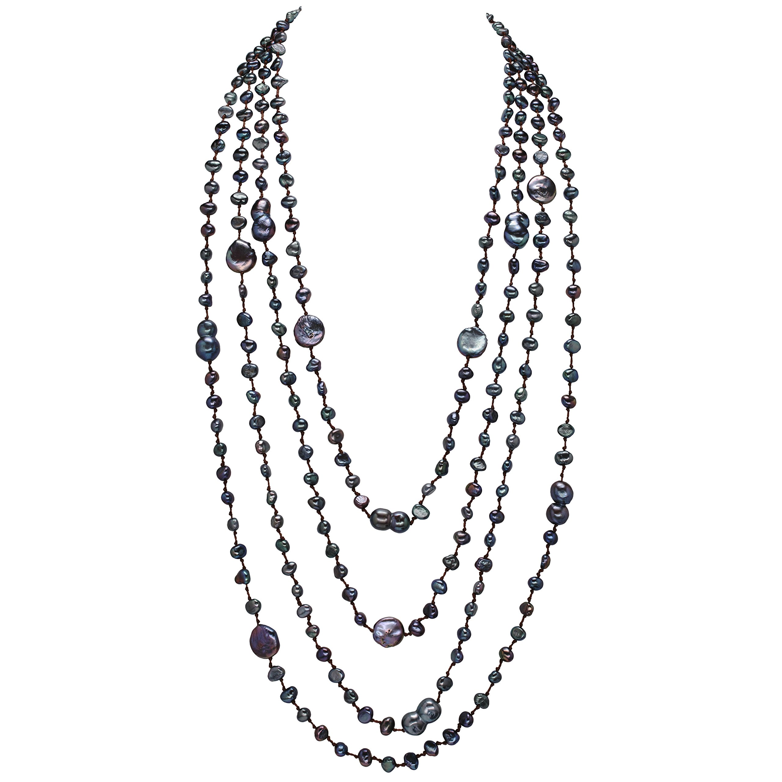 HinsonGayle 'Selena' 4-Strand Ultra-Iridescent Multicolored Black Freshwater Cultured Pearl Necklace-32 in length