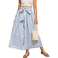 WDIRARA Falda de Cintura Alta con Nudo Frontal de Botones para Mujer
