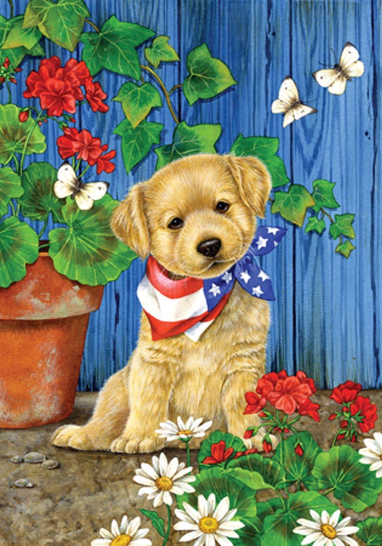 """Toland Home Garden 111179 Patriotic Puppy Flag, Garden (12.5"""" x 18"""")"""