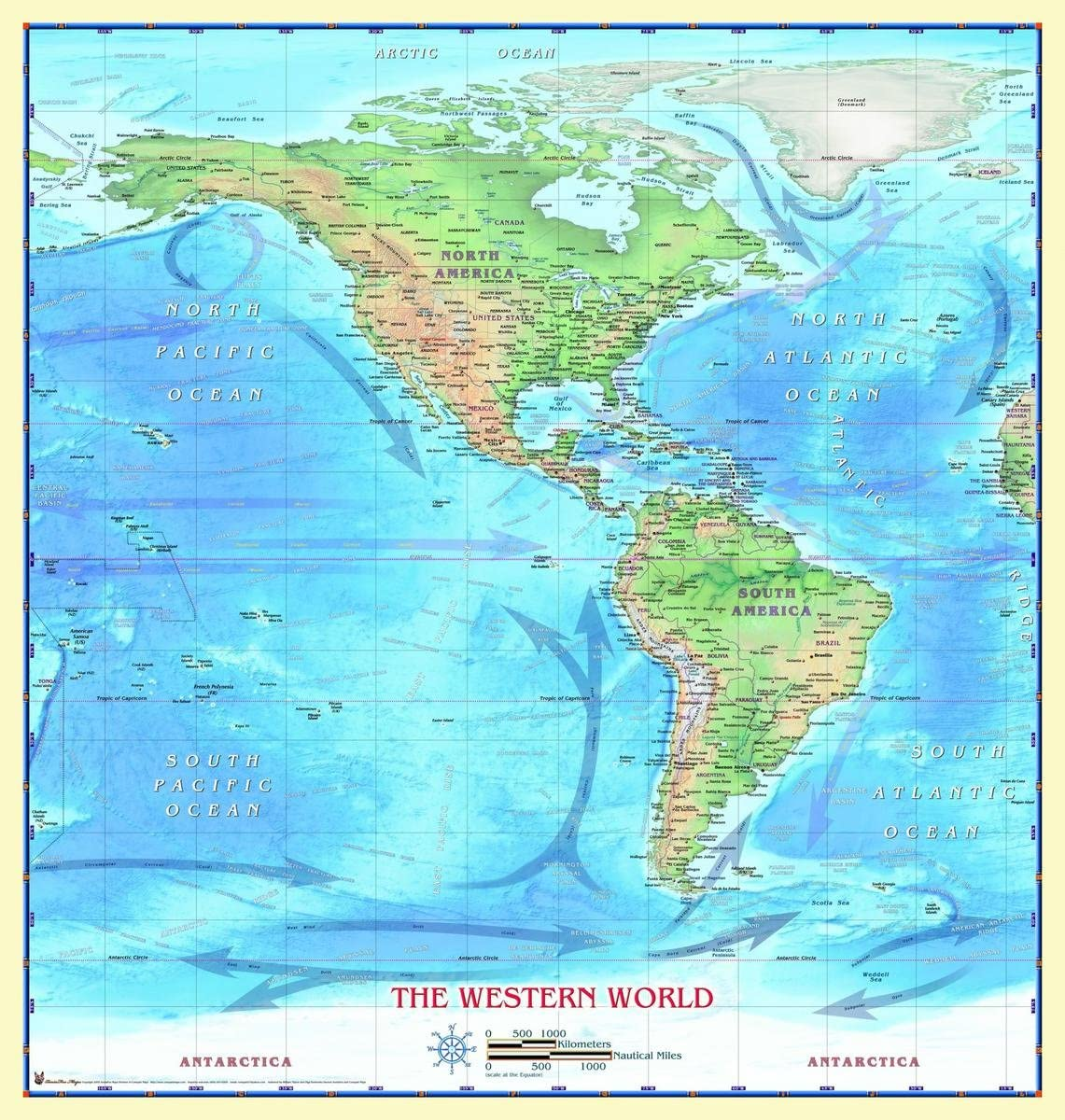 Gifts Delight Laminated 24x25 Poster: Physical Map - Western Hemisphere Wall Map