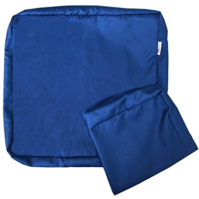 """QQbed 2 Pack Outdoor Patio Chair Waterproof Cushion Pillow Seat Covers in Navy Blue Color 24""""X22""""X4"""" - Replacement Covers Only : Garden & Outdoor"""