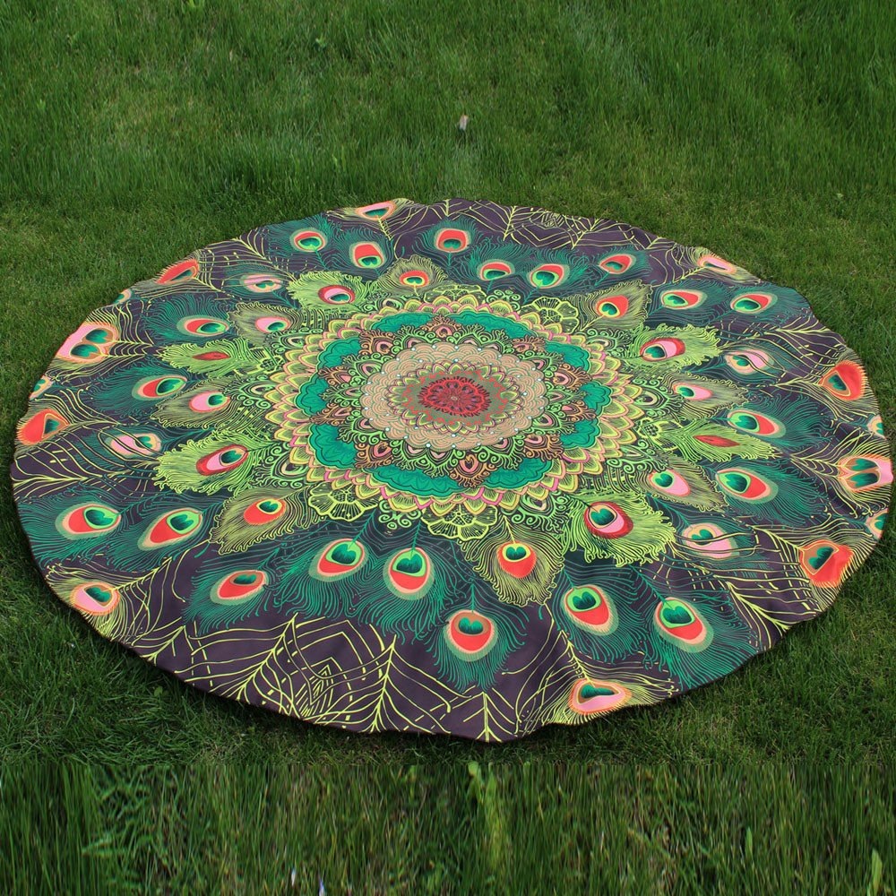 Armfer-household supply Round Mandala Tapestry Peacock Feather Hippie Tie Dye Tapestries Bohemian Beach Blanket Throw Beach Towl Yoga Mat Wall Decor for Bedroom Living Room Dorm