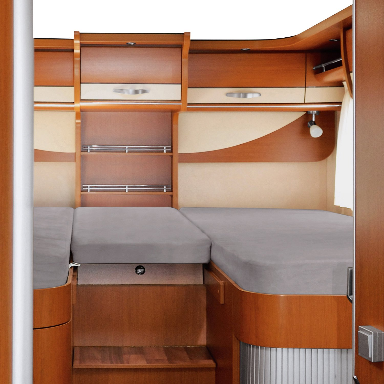 Erwin Müller Spannbettlaken 3er-Set f. Wohnmobil Wohnwagen Heckbett Platin Größe 70x190 cm - 85x210 cm (2X) + 35x130-50x145