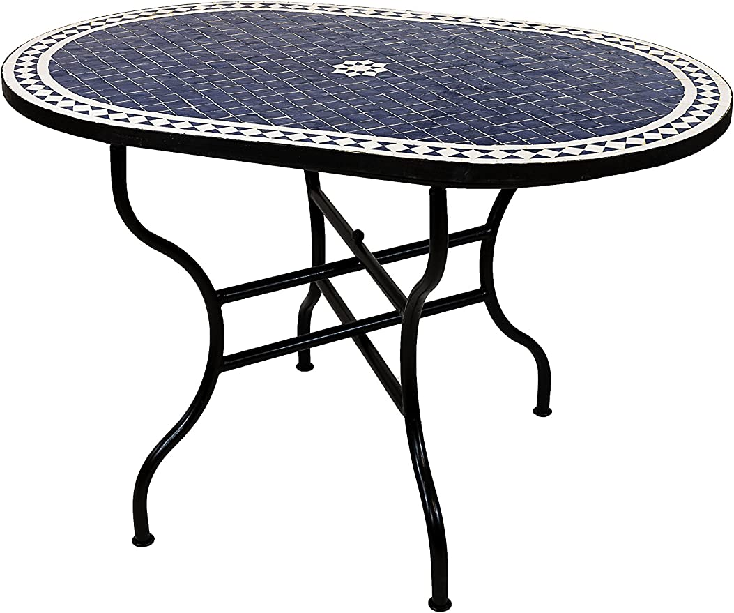 Original marroquí mosaico mesa Jardín Mesa 120 x 80 cm Grande Rectangular ovalado plegable | – Papelera