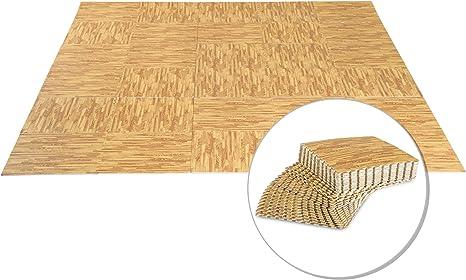 Homcom Tapis interconnectables en Mousse 62L x 62l x 1H cm avec Bordures Tapis Puzzle 30 pi/èces Surface 10,8 m/² Imitation parquet en Bois