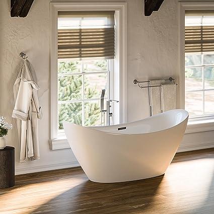 MAYKKE Bel 67u0026quot; Modern Oval Acrylic Bathtub | Double Slipper Sloped  Easy To Install Freestanding