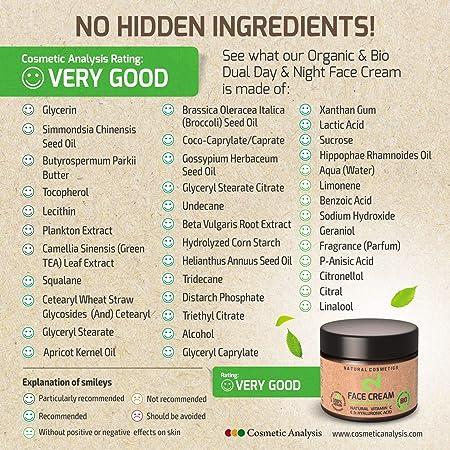DUAL Day & Night Face Cream|Crema Facial Hidratante Para Noche y Día 100% Natural, Vegana Con Microalgas y Brócoli|Fuente de Vitamina C, Ácido Hialurónico|Anti-edad|Certificado|50ml|Hecho en Alemania
