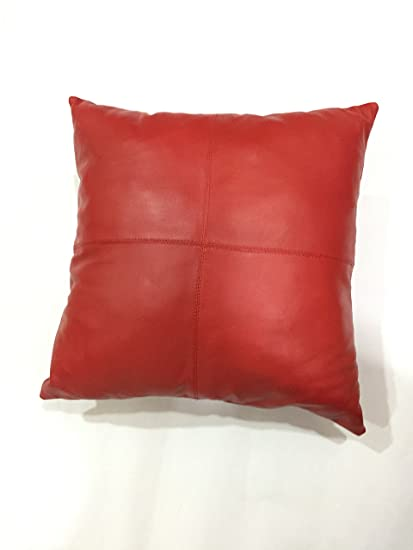 LEATHER FARM\'S Thick genuine Leather Pillow Cover RED Decorative For Couch  Throw Pillow Case RED Leather Cushion Cover Solid Color (20\'\'x20\'\')