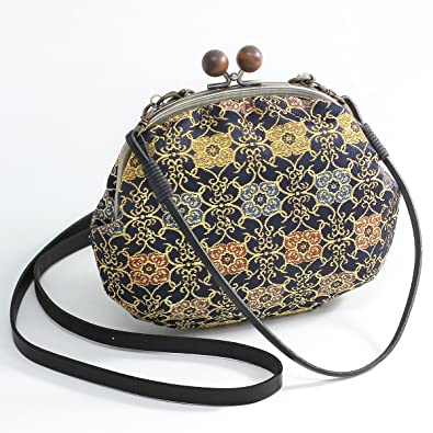b17b3579fe Mieko Women s Japanese Style Bag Traditional Kimono Nishijin-Ori Gamaguchi  (Made in Kyoto Japan)  Handbags  Amazon.com