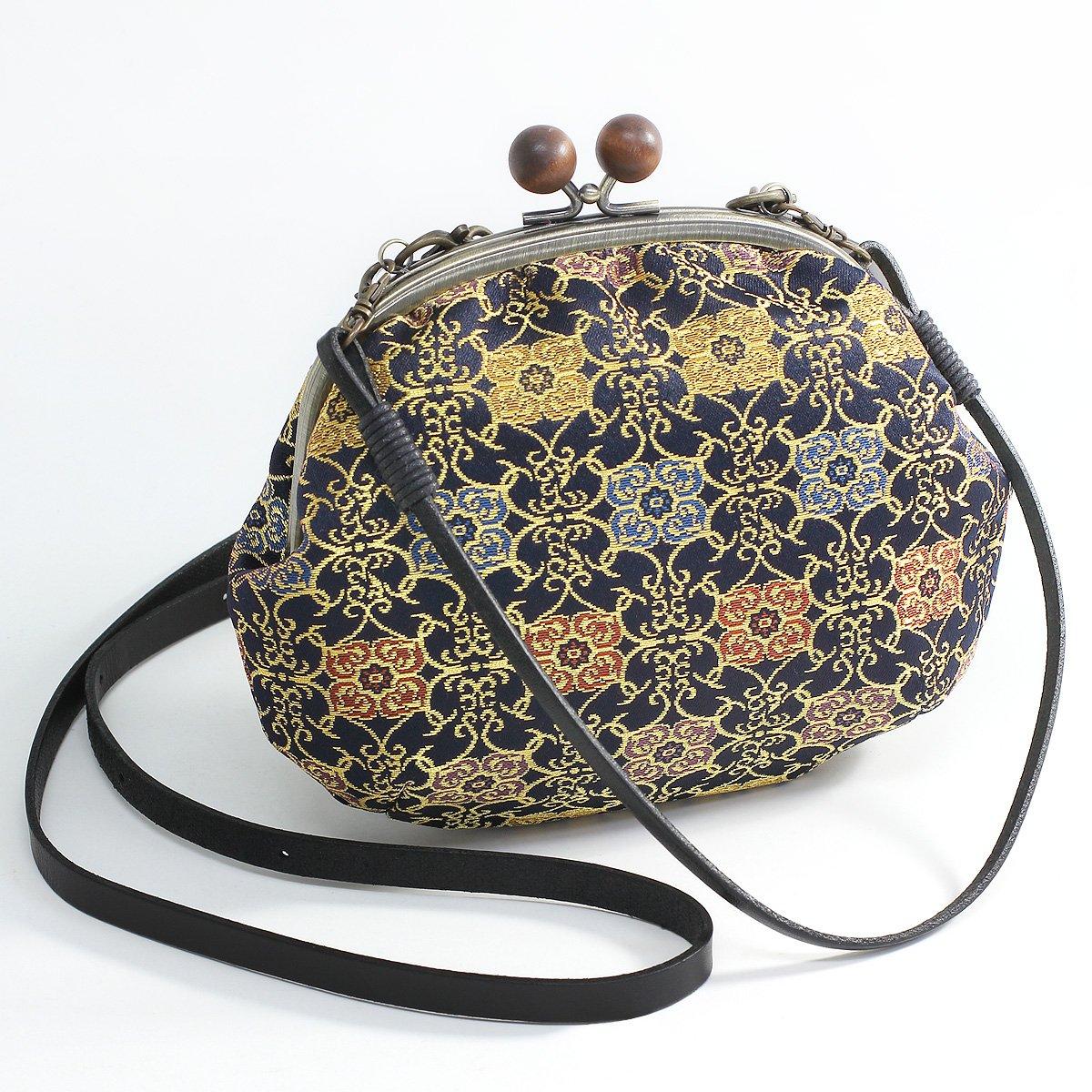 Mieko Women's Japanese Style Bag Traditional Kimono Nishijin-Ori Gamaguchi (Made in Kyoto Japan) by Mieko
