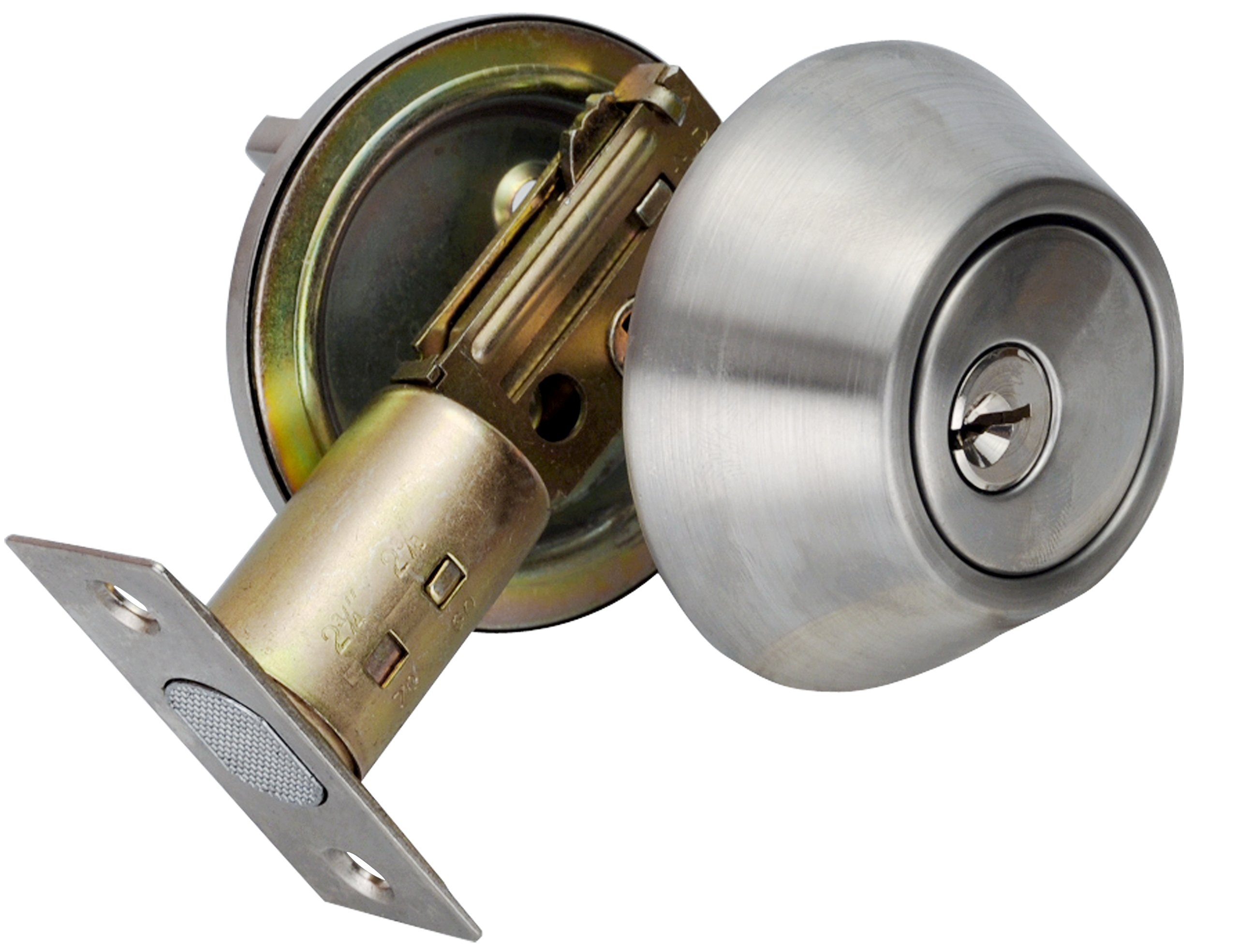 Deadbolt for Exterior Door with Single Cylinder Stainless Steel Finish D101SS,Stainless Steel