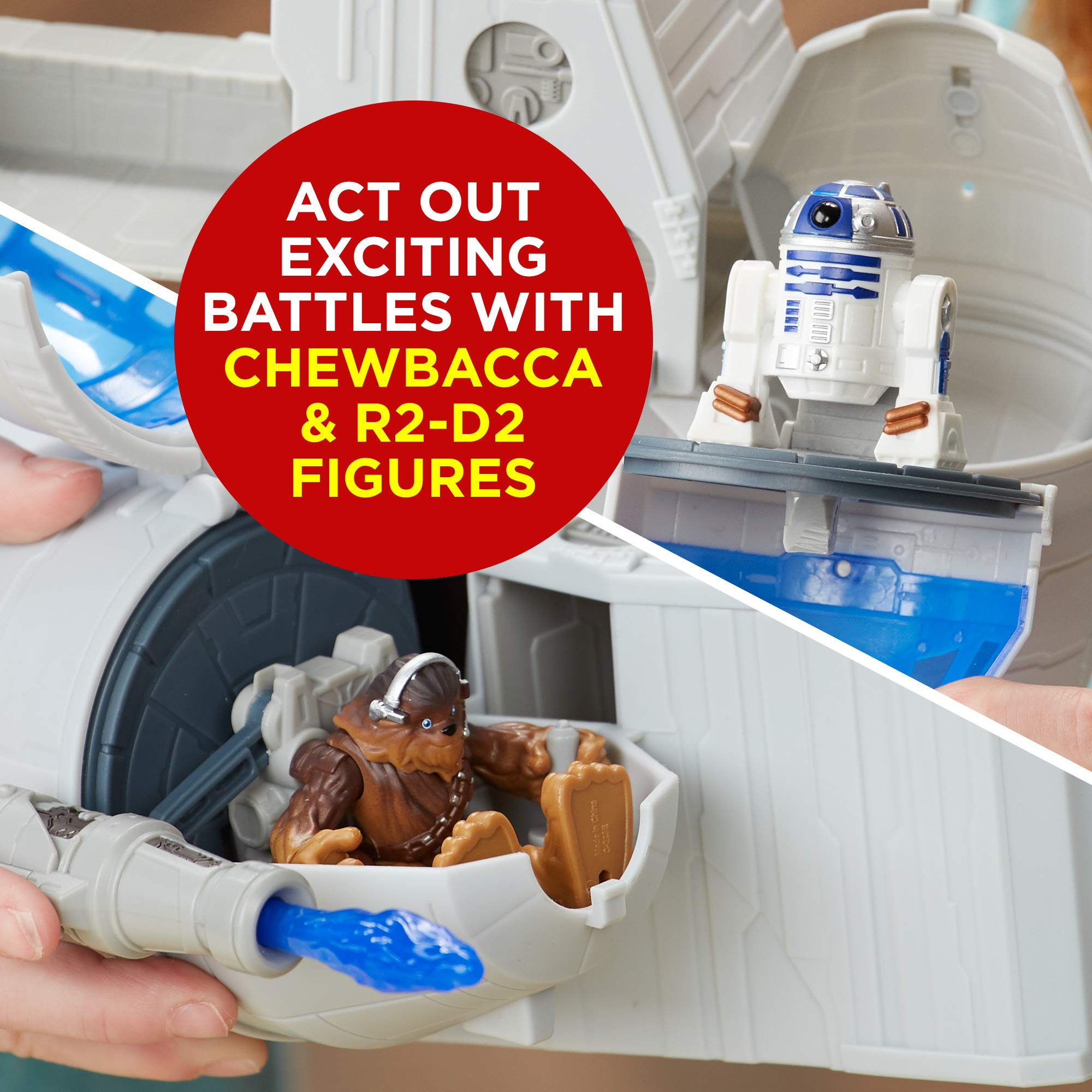 Star Wars Galactic Heroes 2-In-1 Millennium Falcon Vehicle Playset, Chewbacca, R2-D2 2.5-Inch Action Figures, Lights and Sounds, Toys for Kids Ages 3 and Up by Playskool (Image #3)