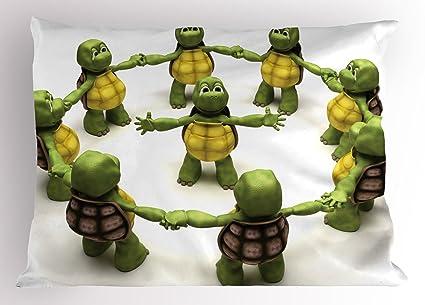 Amazon.com: Ambesonne Reptile Pillow Sham, Ninja Turtles ...