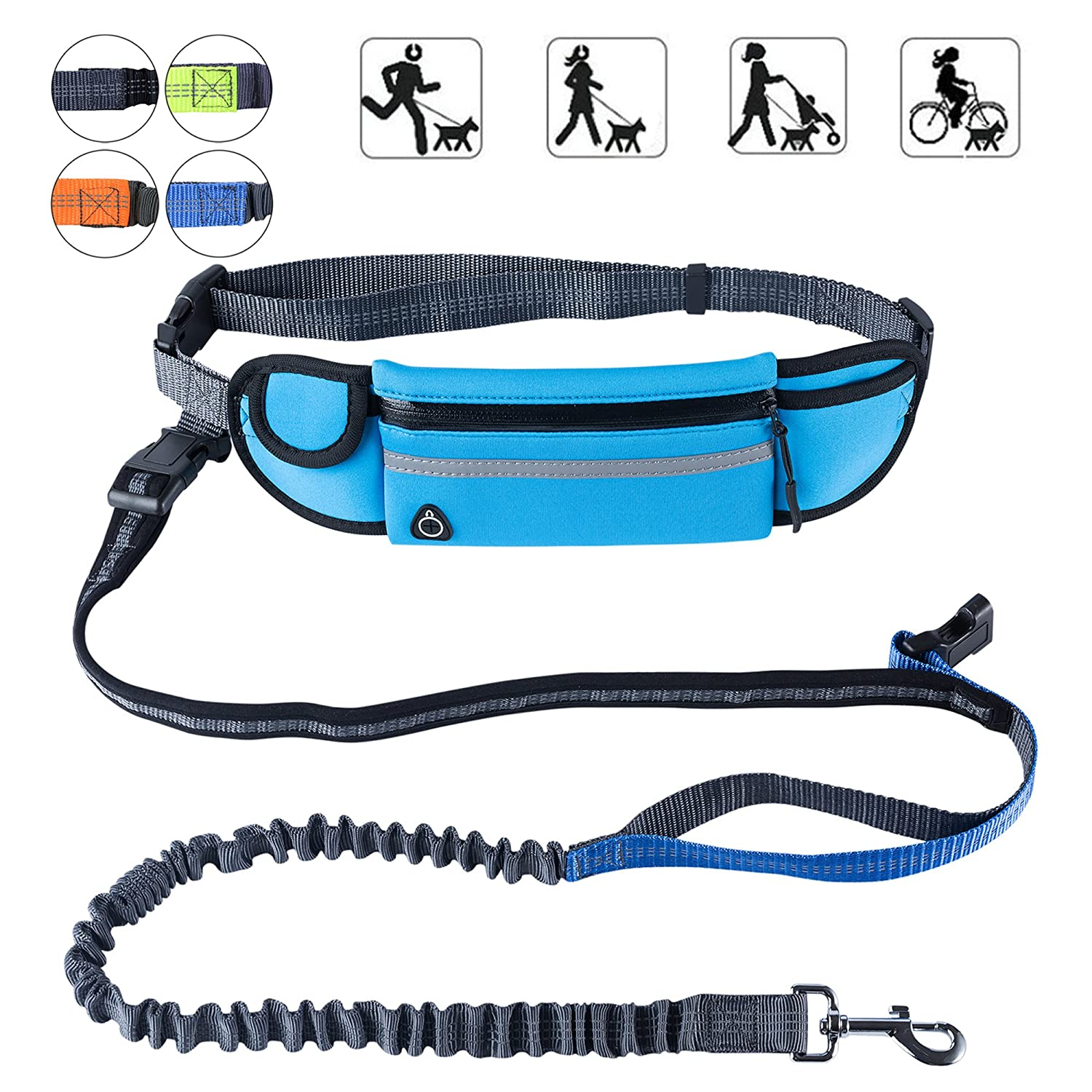 """PetforCity Hands Free Dog Running Leash with Waist Pocket Adjustable Belt Shock Absorbing Bungee Fits up to 45""""Waist YouTop"""