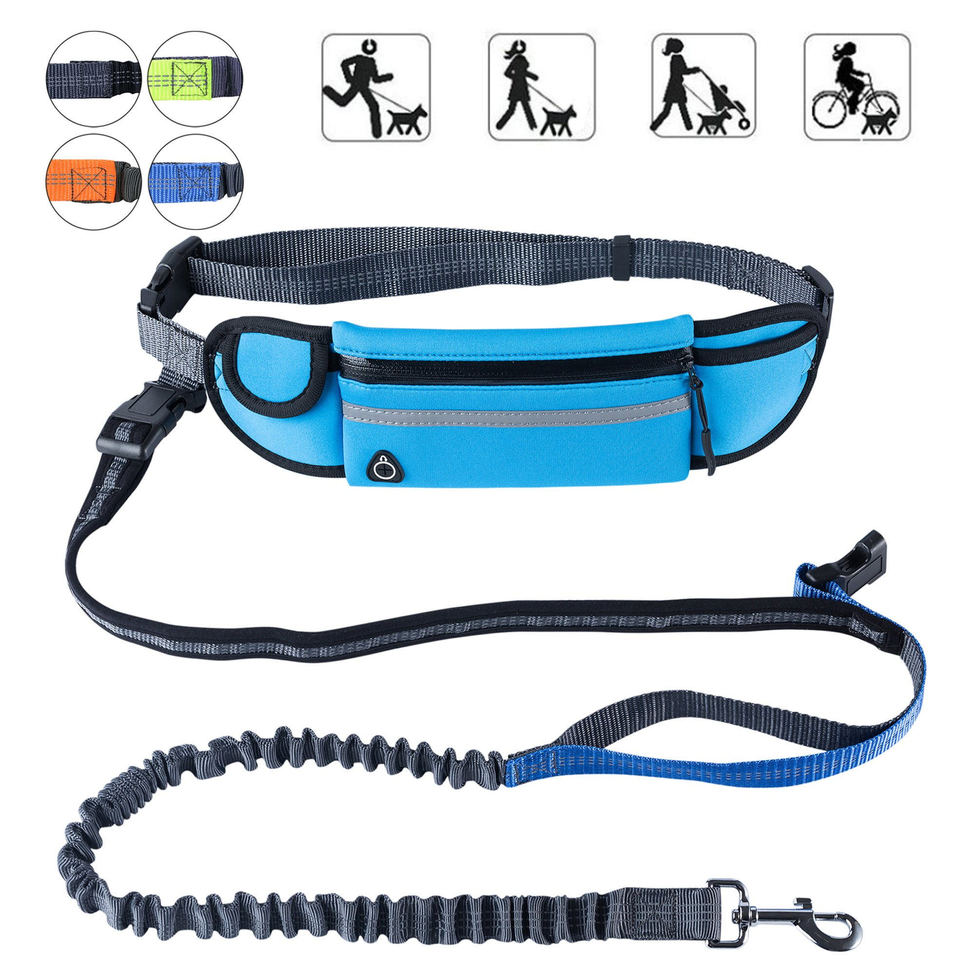 """PetforCity Hands Free Dog Running Leash with Waist Pocket Adjustable Belt Shock Absorbing Bungee Fits up to 45"""""""