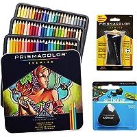 Prismacolor Colored Pencils Box of 72Assorted Colors, Triangular Scholar Pencil Eraser and Premier Pencil Sharpener